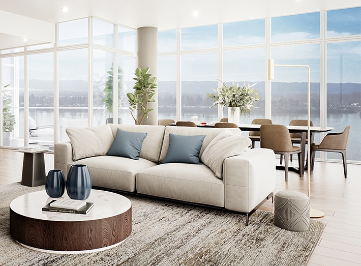 open living room with dining table