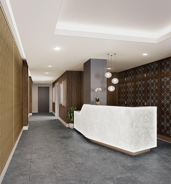 private lobby entrance for condo building
