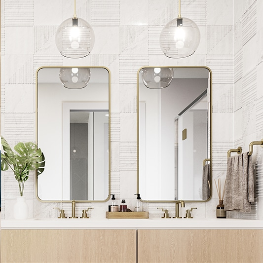 bathroom vanity with two sinks and large mirrors