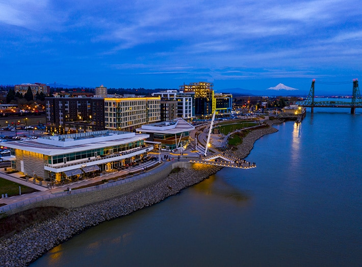 new waterfront buildings and park on columbia river